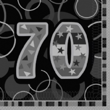 Black Glitz 70th Paper Party Luncheon Napkins